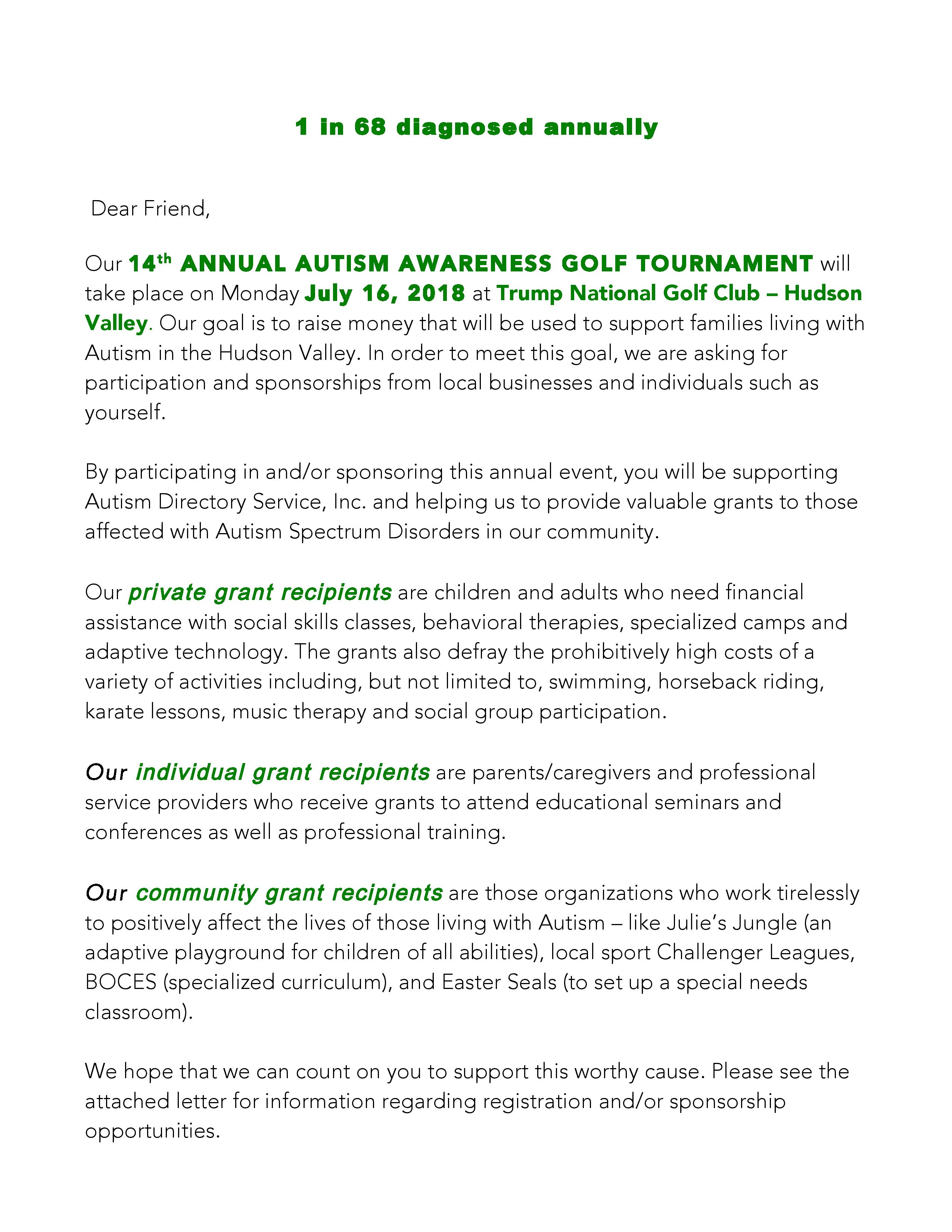 Ads autism directory service for the 14th annual autism awareness golf tournament stopboris Gallery
